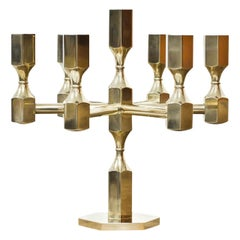 Swedish Postmodern Brass Candelabra by Lars Bergsten for Gusum, Sweden