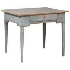 Swedish Provincial 1800s Painted Side Table with Single Drawer and Tapered Legs
