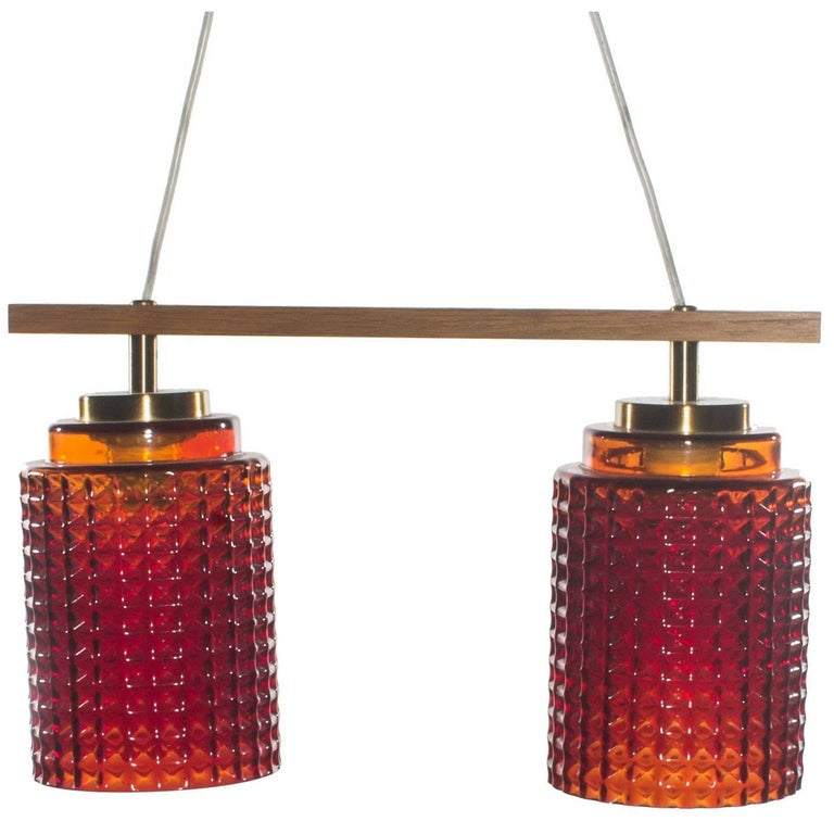 Swedish Red Pendant Light in Glass with Brass Details and Teak Frame
