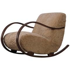 Swedish Rocking Chair in Sheepskin, 1950s