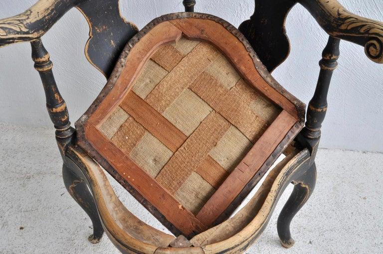 Swedish Rococo Black Corner Chair, 18th Century For Sale 1