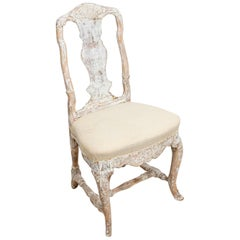 Swedish Rococo Original Painted Carved Shell Detailed Chair, circa 18th Century