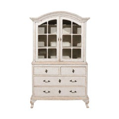 Swedish Rococo Style 19th Century Painted Vitrine with Glass Doors and Drawers
