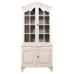 Swedish Rococo Style 19th Century Painted Wood Vitrine Cabinet with Glass Doors