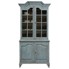 Swedish Rococo Style Blue Grey Cabinet with Linear Pediment and Glass Doors
