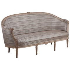 Late Gustavian Barrel-Back Upholstered Swedish Sofa from the Early 19th Century