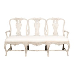 Swedish Rococo Style Painted Three-Seat Sofa with Cabriole Legs and Upholstery