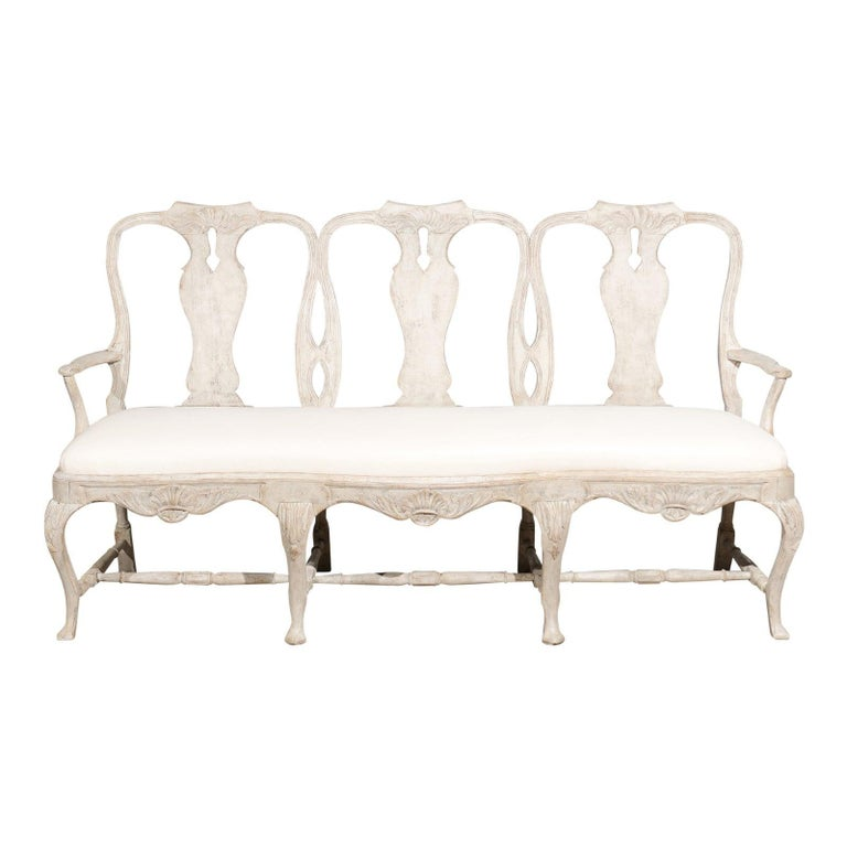 Incredible Swedish Rococo Style Painted Three Seat Sofa With Cabriole Legs And Upholstery Ncnpc Chair Design For Home Ncnpcorg