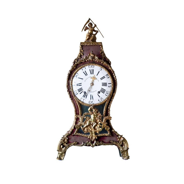 Swedish Rococo Table Clock Signed by Augustin Bourdillon For Sale 7