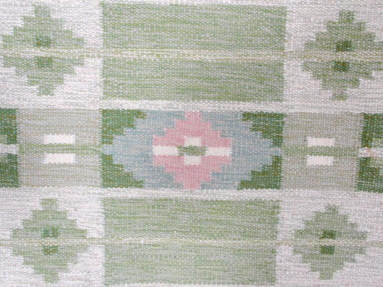 Scandinavian Swedish Rolakan Carpet Handwoven Wool For Sale