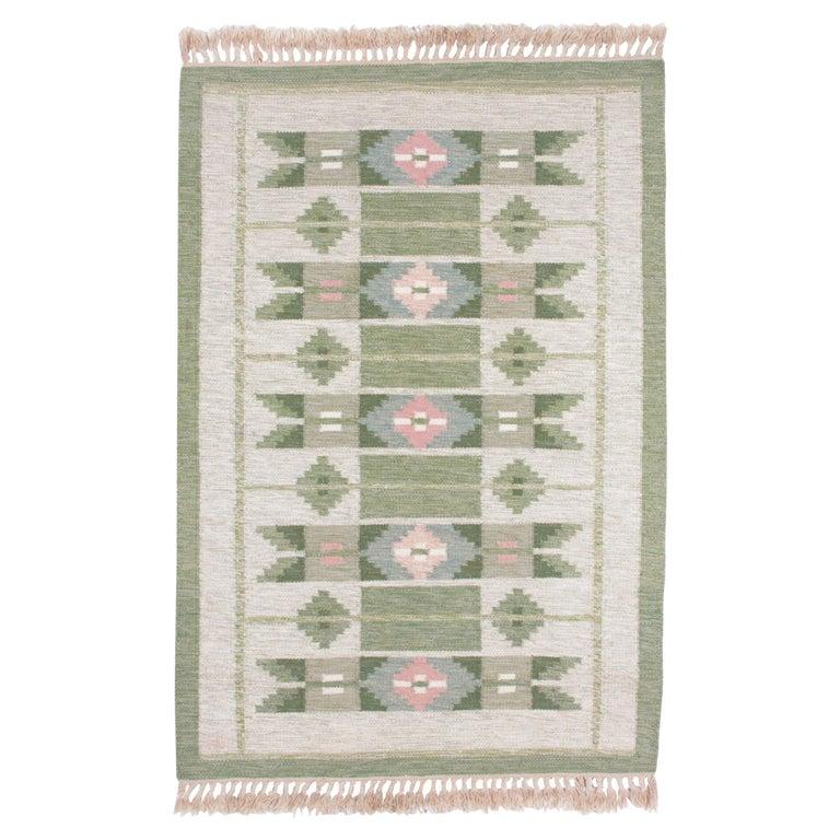Swedish Rolakan Carpet Handwoven Wool For Sale