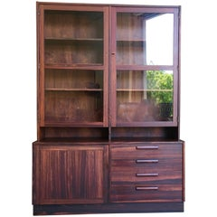 Swedish Rosewood Credenza with Glass Front Cabinet