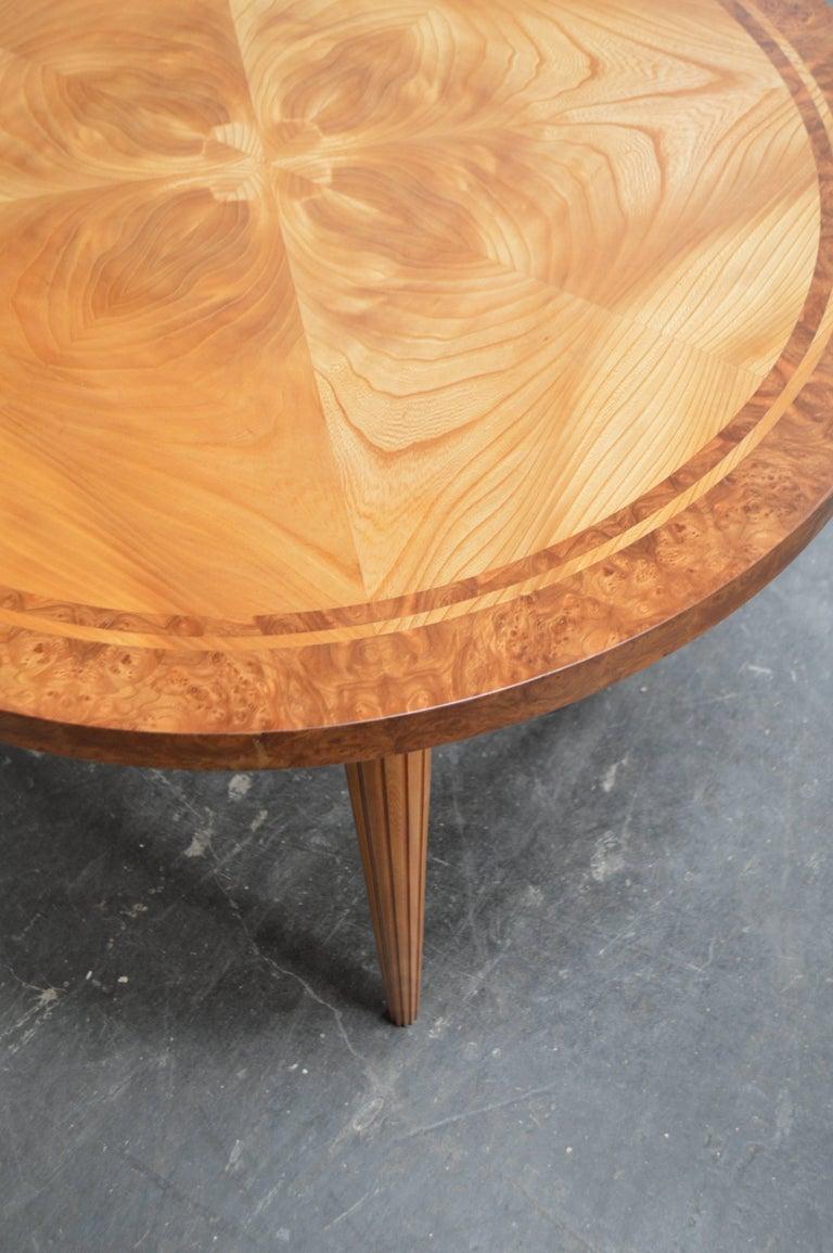 Art Deco Swedish Round Golden Elm End or Side Table For Sale