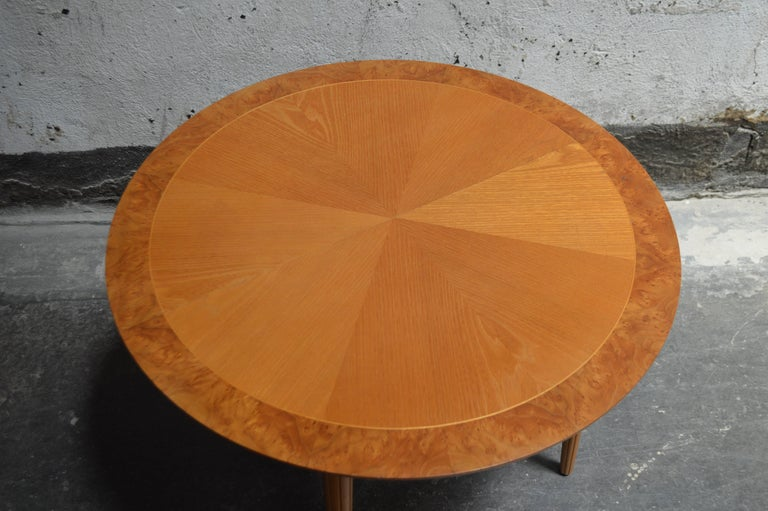 Swedish Round Golden Elm End or Side Table For Sale 2