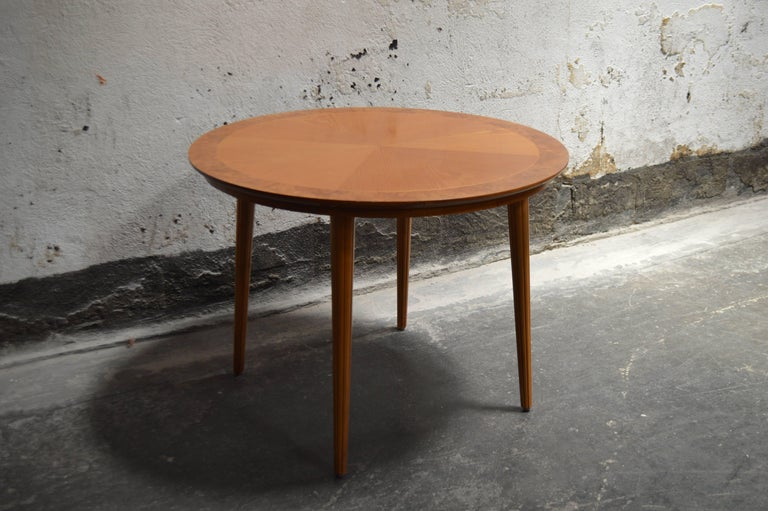 Swedish Round Golden Elm End or Side Table For Sale 3