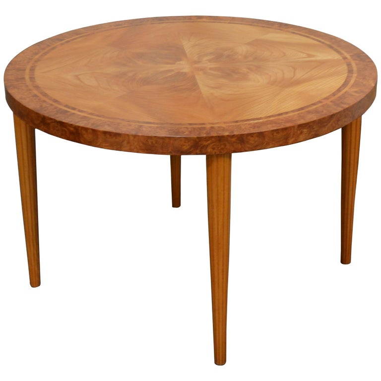 Swedish Round Golden Elm End or Side Table For Sale