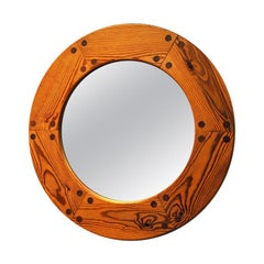 Swedish Round Pine Mirror Luxus by Uno & Östen Kristiansson, 1950s