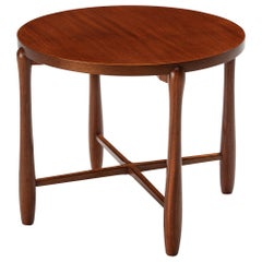 Swedish Round Side Table in Mahogany
