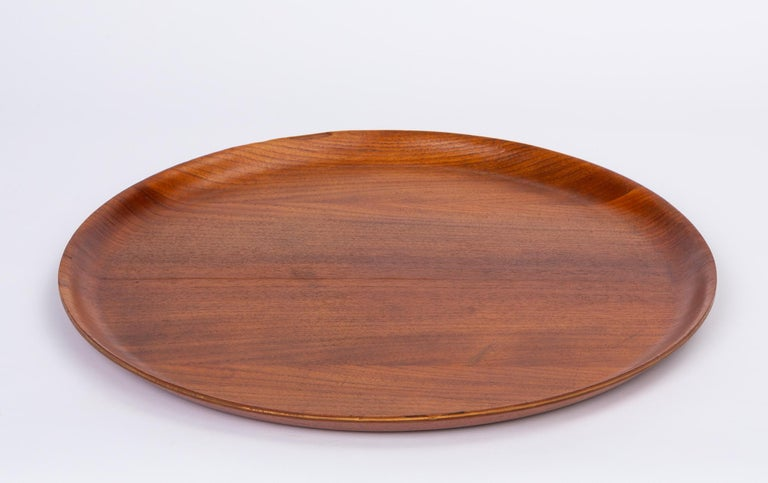 Oiled Swedish Round Teak Tray with Curved Edge For Sale
