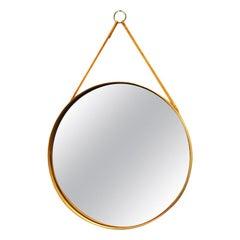 Swedish Round Vintage Oak Mirror Glasmäster Markaryd, 1960s