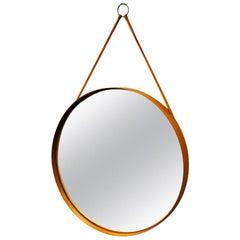 Swedish Round Vintage Teak Mirror Glasmäster Markaryd, 1960s