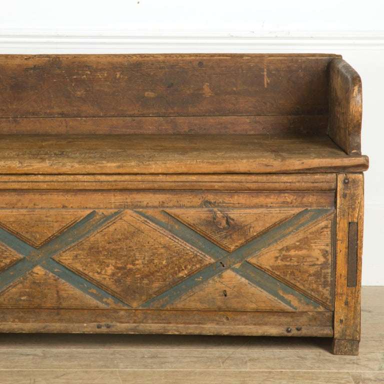 Gustavian Swedish Rustic Folk Art Bench For Sale