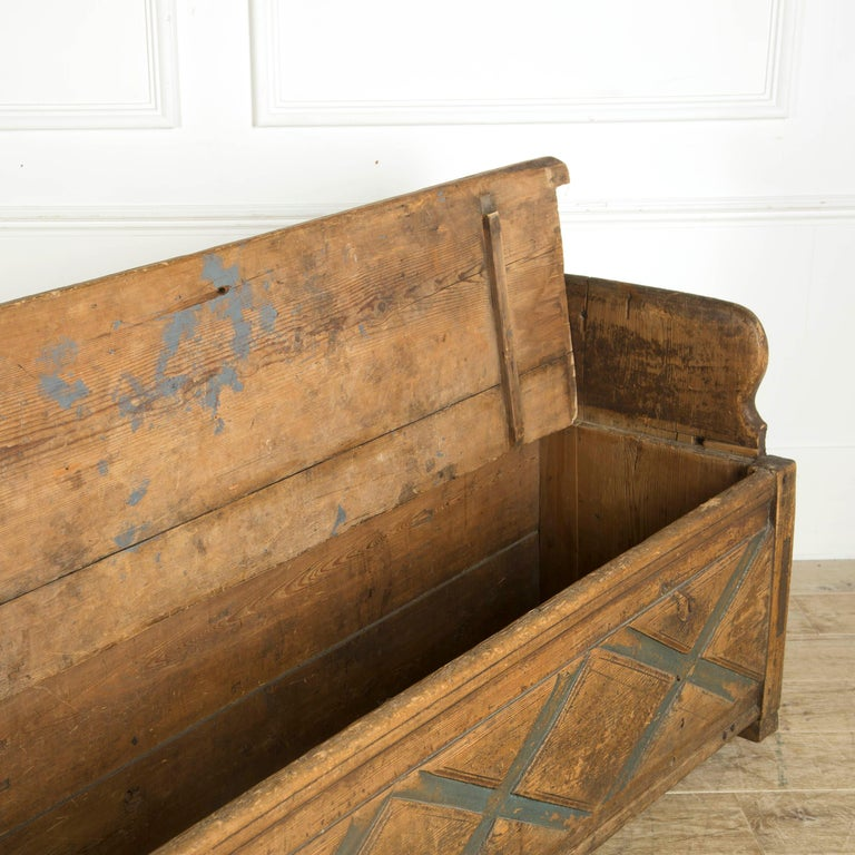Painted Swedish Rustic Folk Art Bench For Sale