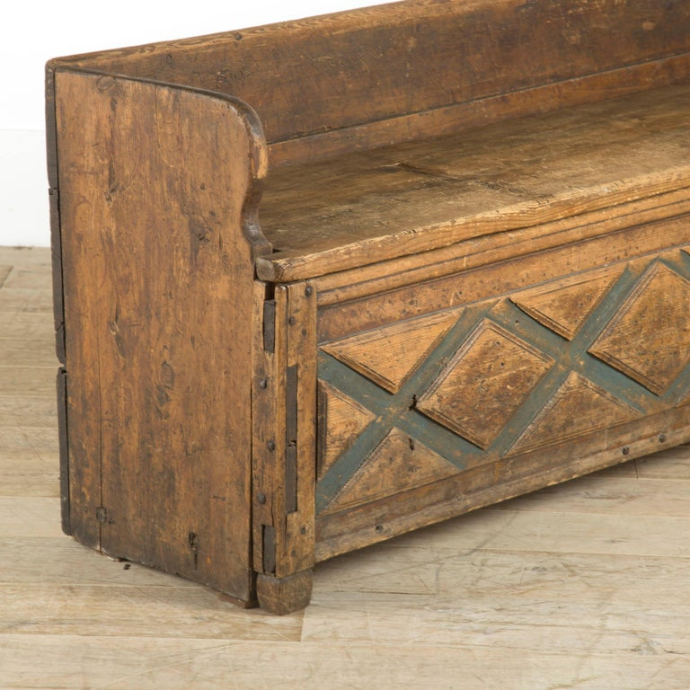 18th Century and Earlier Swedish Rustic Folk Art Bench For Sale