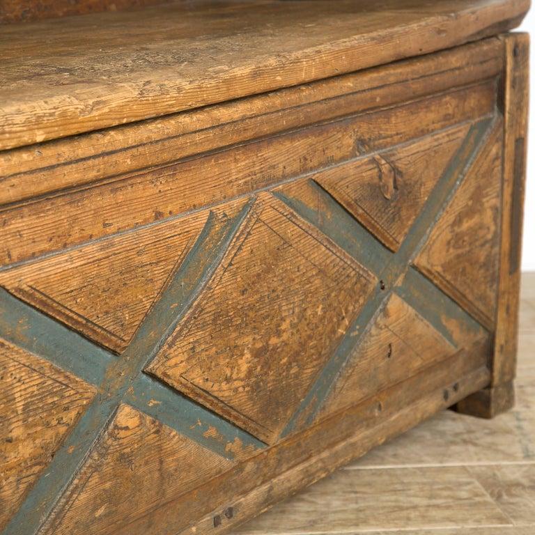 Pine Swedish Rustic Folk Art Bench For Sale