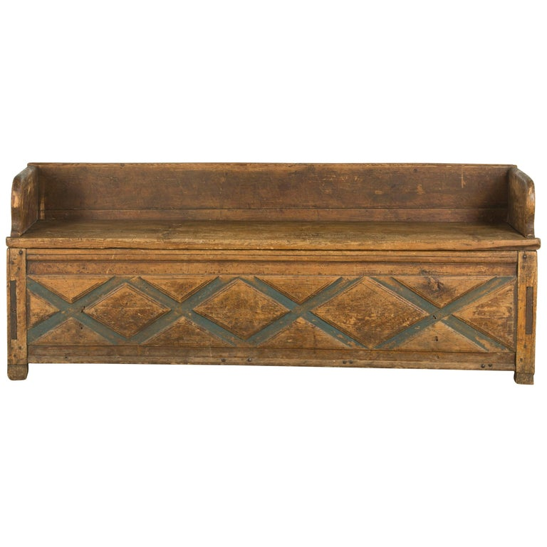 Swedish Rustic Folk Art Bench For Sale