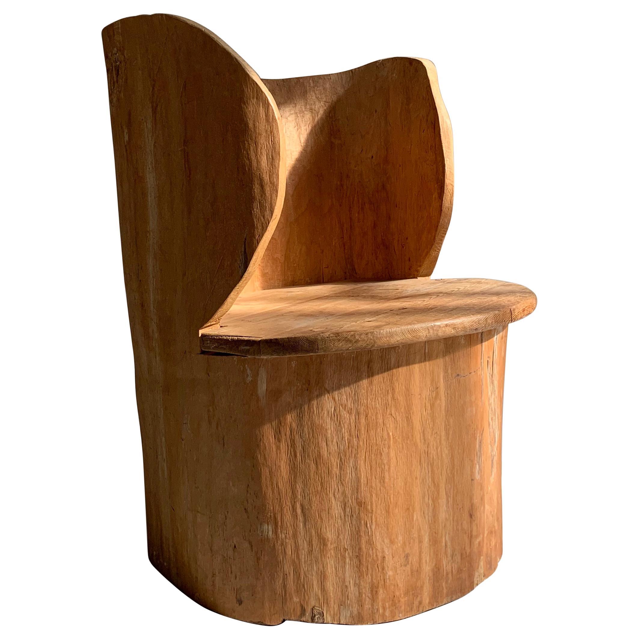 Swedish Sculptural Brutalist Stump Chair in Pine, circa 1950s