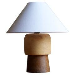Swedish, Sculptural Table Lamp, Solid Oak, Solid Teak, Sweden, 1950s