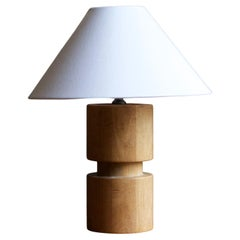 Swedish, Sculptural Table Lamp, Solid Wood, Brass, Sweden, 1940s