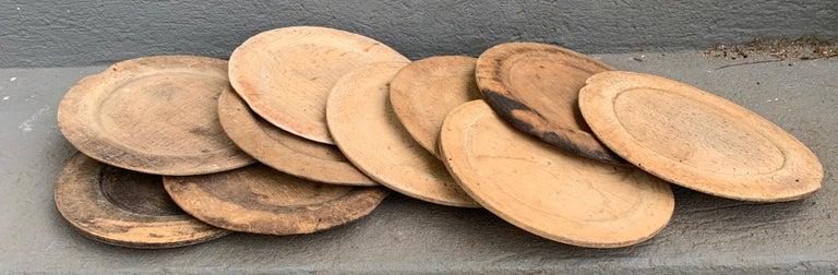Swedish Set of 10 Wooden Folk Art Dinner Plates For Sale 5