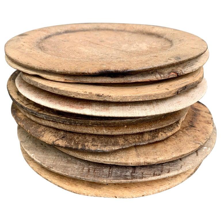 Rustic Swedish Set of 10 Wooden Folk Art Dinner Plates For Sale