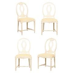 Swedish Set of 4 Side Chairs w/ Pierced Oval Shaped Backs & Upholstered Seats