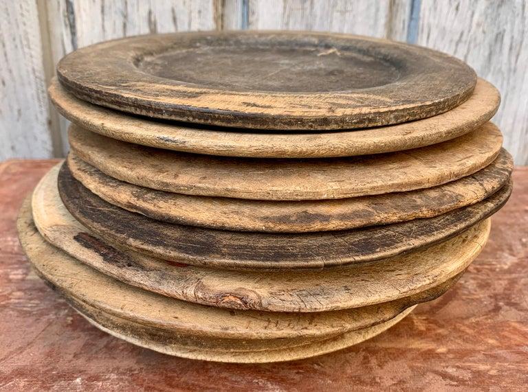 Swedish Set of 9 Antique Wooden Folk Art Dinner Plates For Sale 9