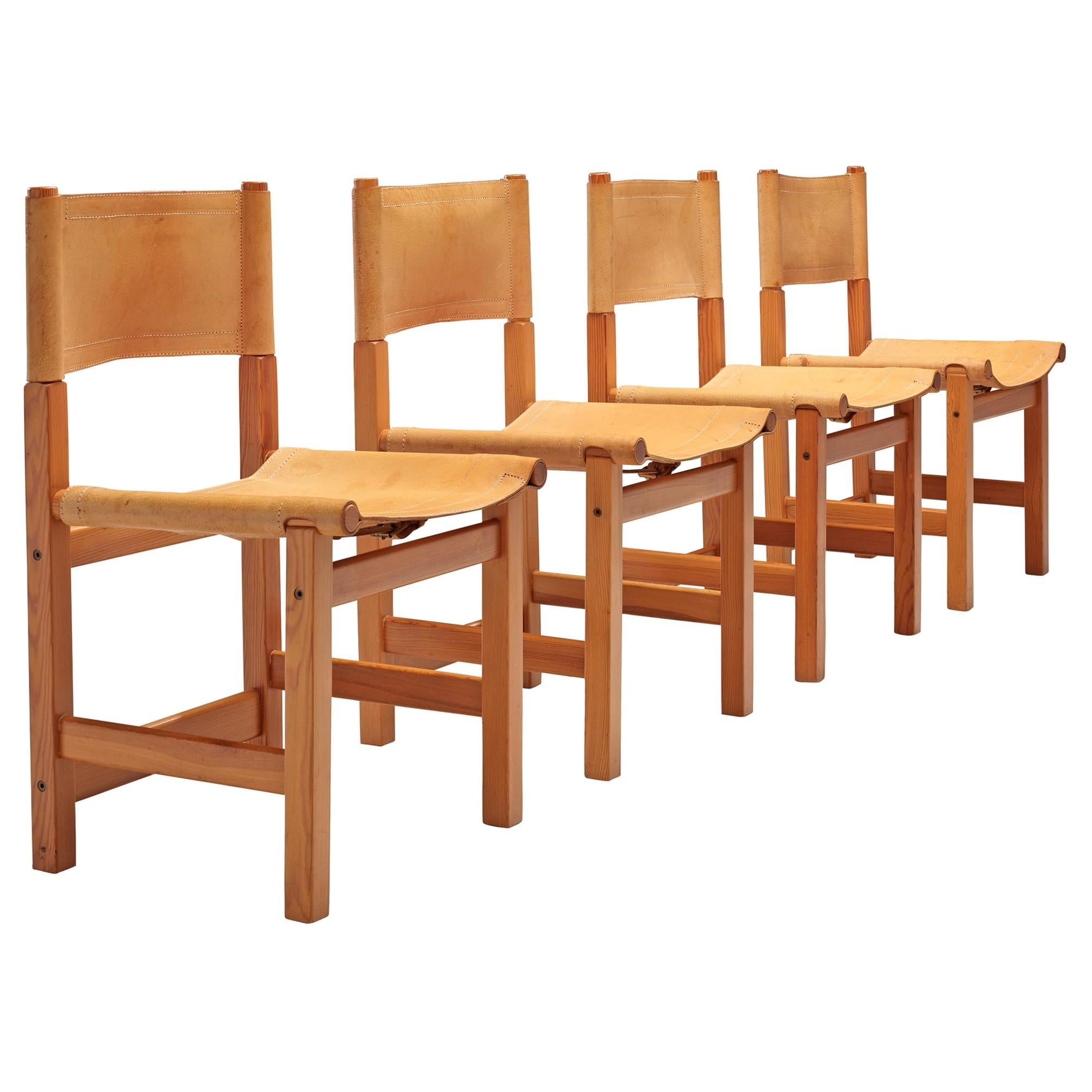 Swedish Set of Four Chairs in Pine and Naturel Leather