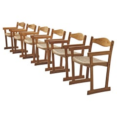 Swedish Set of Six Armchairs in Pine and Papercord