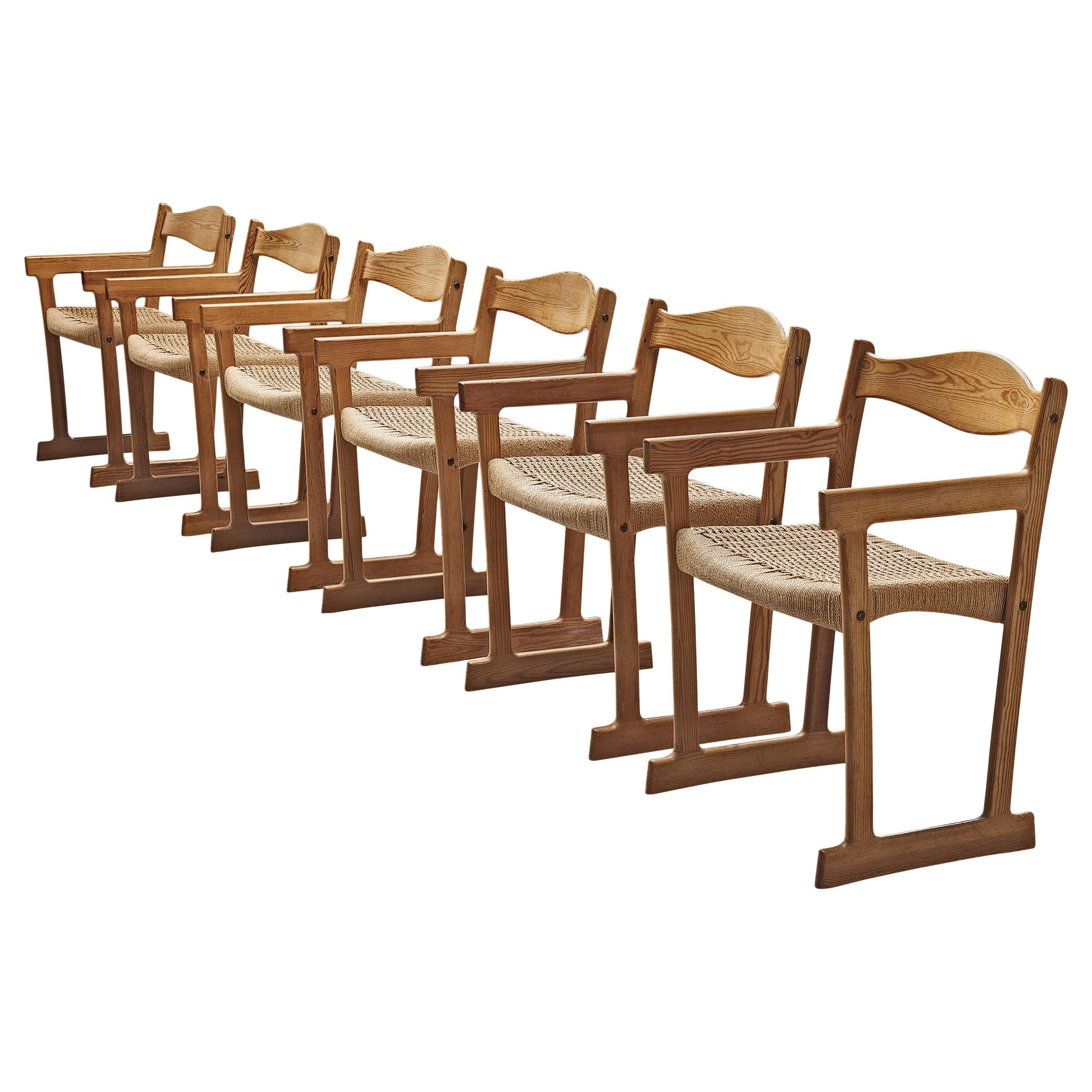 Swedish Set of Six Armchairs in Pine & Papercord, 1960s