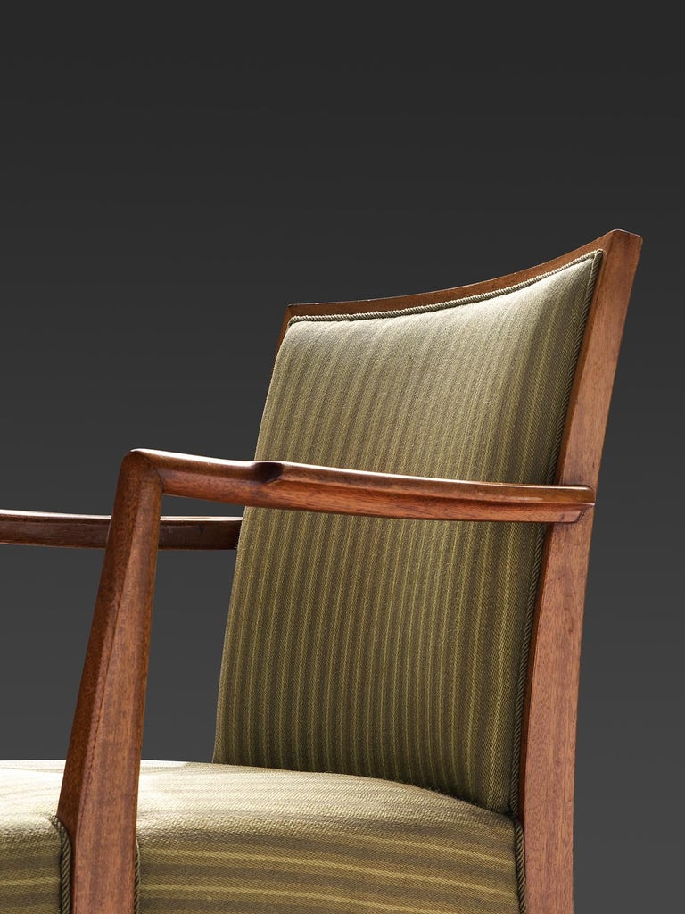 Fabric Swedish Set of Six Armchairs in Teak, 1940s For Sale