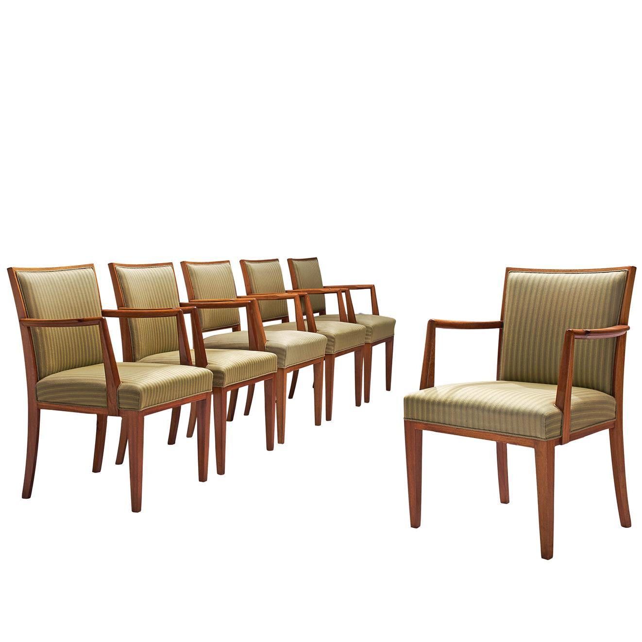 Swedish Set of Six Armchairs in Teak, 1940s