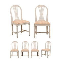 Swedish Set of Six Vintage Side Chairs w/ Pierce-Carved Back Splats