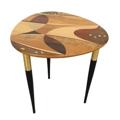 Swedish Side Table with Intarsia by Bodafors