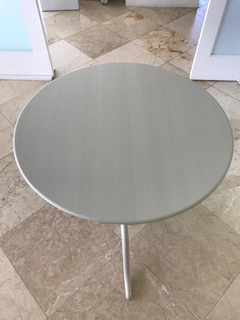 Swedish Side Table with Tilt Top in Hand Painted Taupe Wood, c. 1970's For Sale 1