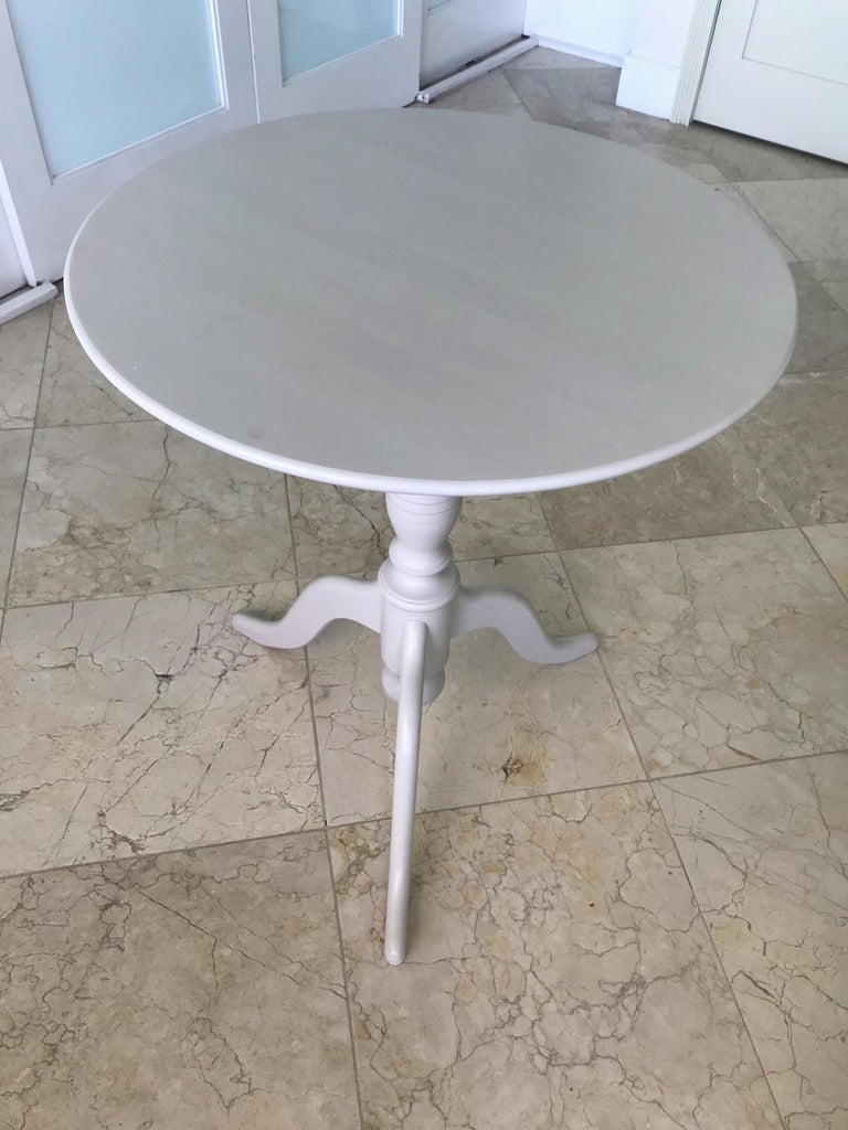 Swedish Side Table with Tilt Top in Hand Painted Taupe Wood, c. 1970's For Sale 2