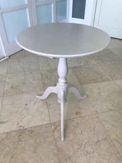 Swedish Side Table with Tilt Top in Hand Painted Taupe Wood, c. 1970's