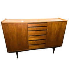 Swedish Sideboard in Teak and Black Painted Legs and Drawers, 1950