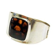 Swedish Silver Bracelet with Glass Stone by HJ Weissenberg, 1963