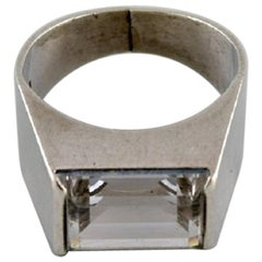 Swedish Silversmith, Art Deco Style Ring in Sterling Silver Adorned with Crystal
